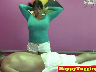 Real fat asian masseuse tugging dong
