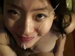 Amateur Asian Faceful Of Cum