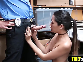 Slim korean shoplifter from behind fuck coarse style