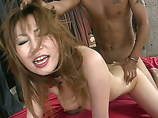Dumpy Oriental hootchie in nylons got her bushy fanny absolutely destroyed